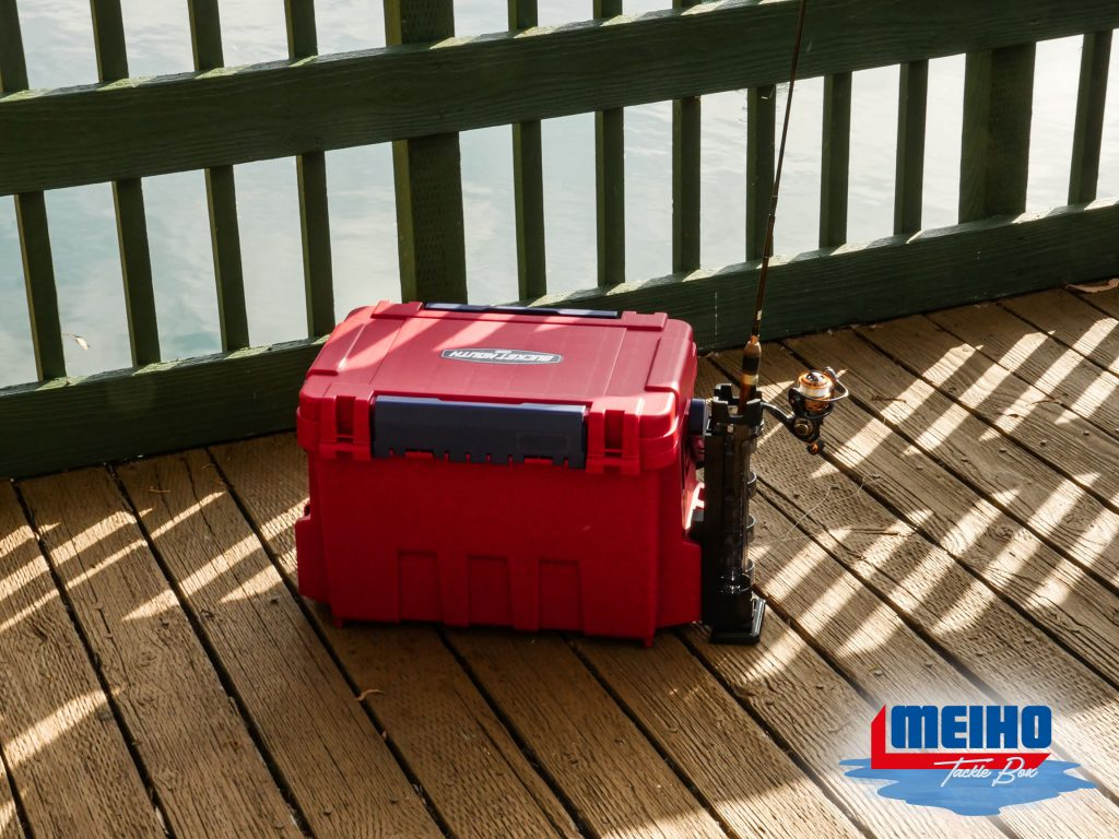 Large Tackle Box With Attachable Fishing Rod Stand